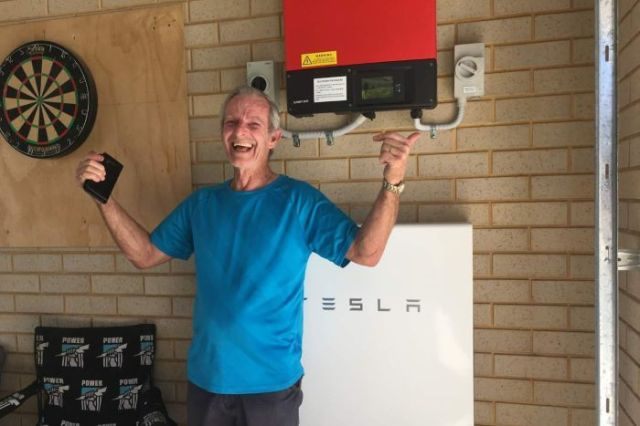 Des Jenkins with the Tesla solar scheme source ABC News Leah MacLennana Adelaide